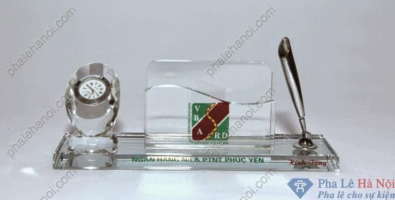 PhaledebanPLDB30 - Bộ pha lê để bàn đồng hồ để name card