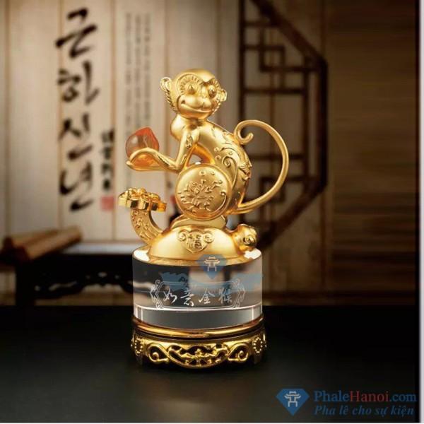 Tuong 12 con giap pha le18 - Tượng Khỉ Phong Thủy Mạ Vàng Thân Trụ Pha Lê