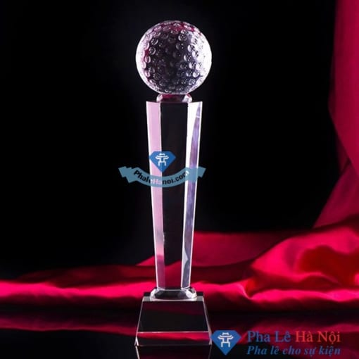 Cúp pha lê thể thao golf thân lục giác