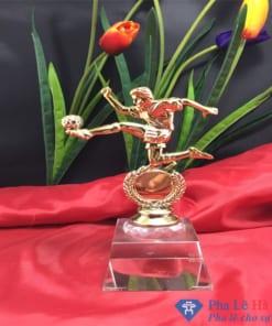 Cúp pha lê thể thao cầu thủ sút bóng mạ vàng