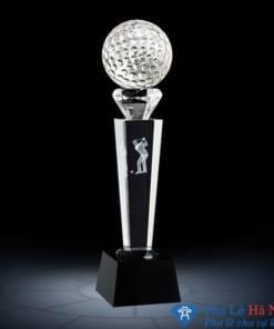 Cúp pha lê thể thao golf đính kim cương thân vuông