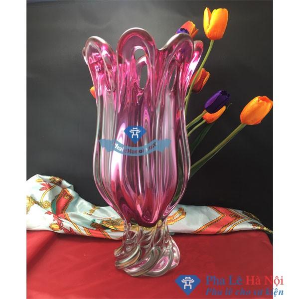 Lọ hoa pha lê hồng chân xoắn