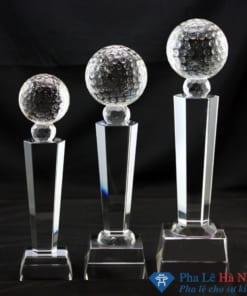 Bộ cúp pha lê thể thao golf thân lục giác