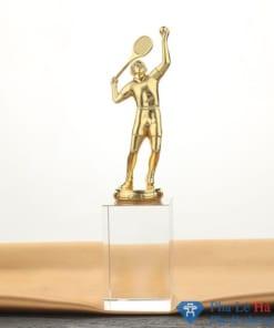 Cúp thể thao cầu thủ chơi tennis mạ vàng khối pha lê trắng