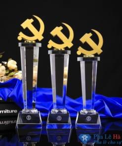 Bộ cúp pha lê cờ đảng mạ vàng