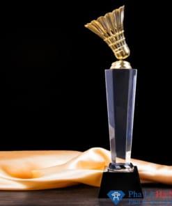 Cúp pha lê thể thao cầu lông mạ vàng thân lục giác chân đen