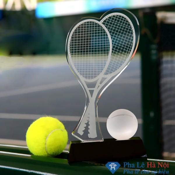 Cúp pha lê thể thao hình vợt tennis đôi