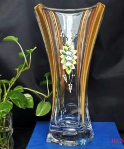 Lọ hoa pha lê tiệp khảm váng đắp hoa nổi