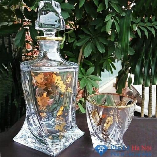 Bộ bình rượu pha lê khảm vàng hoa