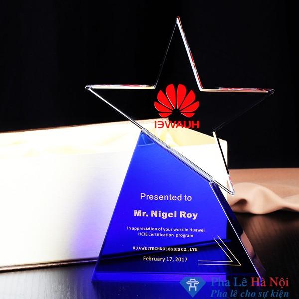 Kỷ niệm chương pha lê ngôi sao đế xanh