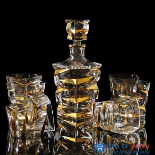 Bộ bình rượu pha lê tiệp khẳm vàng 2