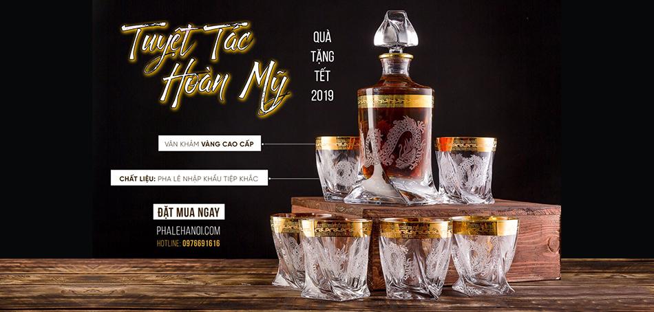 123 - Bộ Ly Rượu Pha Lê Khảm Rồng 2019