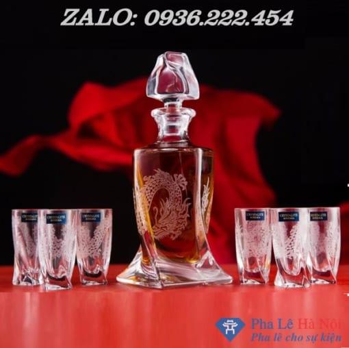 1570beceeab909e750a8 510x508 - Bộ bình rượu pha lê tiệp số 30 khảm rồng