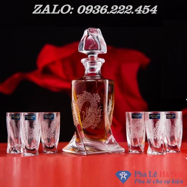 1570beceeab909e750a8 - Bộ bình rượu pha lê tiệp số 30 khảm rồng