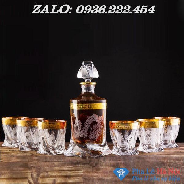 z1201025168993 a8aa25df07a7f5410992eb65b3a09288 3 - Bộ bình rượu pha lê khảm rồng mạ vàng số 32